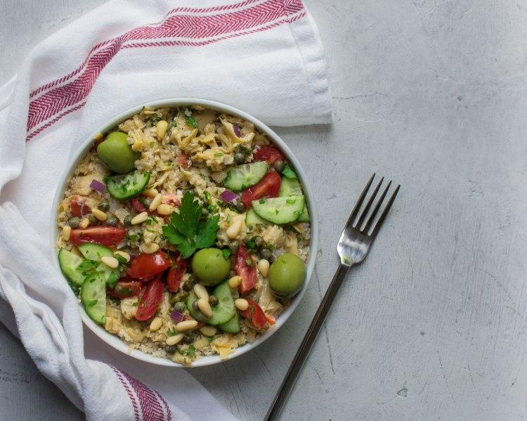 Roasted Artichoke Quinoa Bowl - Greek salad